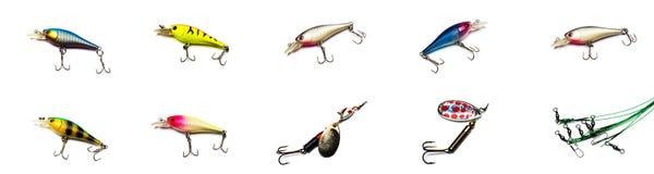 Colección de señuelos de la pesca en el fondo blanco fotos de archivo libres de regalías