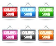 El venir pronto botones del Web Imagenes de archivo