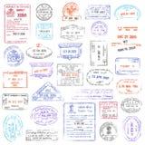 Colección de sello de alta calidad del pasaporte del grunge Imágenes de archivo libres de regalías