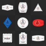 Colección de sello de la torre Eiffel ilustración del vector