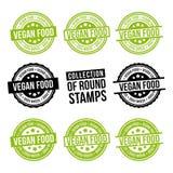 Colección de sello de la ronda de la comida del vegano Divisas fijadas Vector Eps10 ilustración del vector