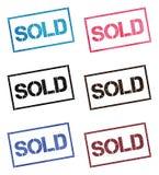 Colección de sello rectangular vendida stock de ilustración
