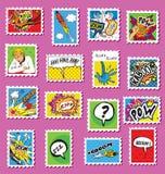 Colección de sellos cómicos del poste del arte Imagen de archivo libre de regalías