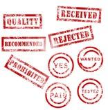 Colección de sellos roja stock de ilustración