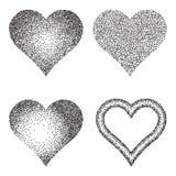 Colección de semitono del modelo o de la textura Sistema del Stipple Dot Backgrounds con los corazones Foto de archivo libre de regalías