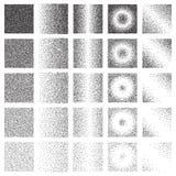 Colección de semitono del modelo o de la textura Sistema del Stipple Dot Backgrounds con los cuadrados Fotos de archivo libres de regalías