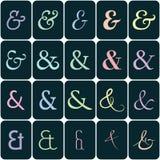 Colección de signos '&' en los colores para los lettes y ilustración del vector