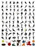 Colección de siluetas de deportistas Imagen de archivo libre de regalías