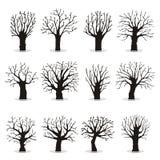 Colección de siluetas de los árboles stock de ilustración