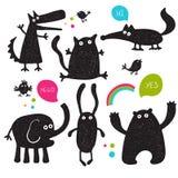 Colección de siluetas de los animales del vector de la historieta Imágenes de archivo libres de regalías
