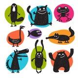 Colección de siluetas de los animales del vector de la historieta Fotografía de archivo libre de regalías