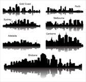 Colección de siluetas detalladas del vector de ciudades australianas Foto de archivo libre de regalías