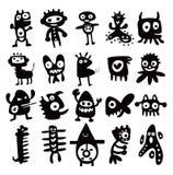 Colección de siluetas divertidas de los monstruos de la historieta Fotografía de archivo libre de regalías
