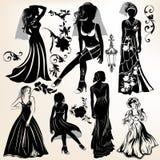 Colección de siluetas y de elementos de la boda Imagenes de archivo