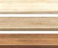 Colección de sobremesas de madera de la cocina vacía en blanco, para la exhibición del montaje del producto foto de archivo libre de regalías
