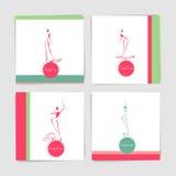 Colección de tarjeta con las siluetas estilizadas de las mujeres del baile adentro Fotografía de archivo