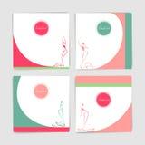 Colección de tarjeta con las siluetas estilizadas de mujeres en ev largo Imágenes de archivo libres de regalías