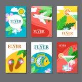 Colección de tarjeta rectangular brillantemente coloreada en viaje y ocio Estilo plano stock de ilustración