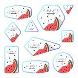 Colección de tarjetas de la sandía del verano stock de ilustración