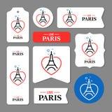 Colección de tarjetas de la torre Eiffel stock de ilustración