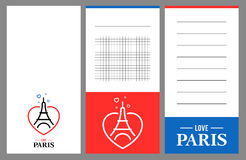Colección de tarjetas de la torre Eiffel ilustración del vector