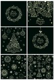 Colección de tarjetas de Navidad y de fondos decorativos Fotos de archivo