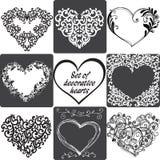Colección de tarjetas de felicitación con los corazones Ilustración del vector stock de ilustración