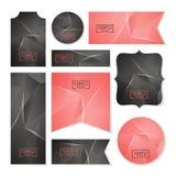 Colección de tarjetas polivinílicas bajas del espacio poligonal abstracto stock de ilustración