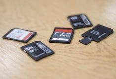 Colección de tarjetas SD fotos de archivo