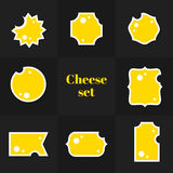 Colección de tarjetas triangulares del queso del pedazo Foto de archivo