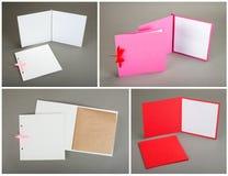 Colección de tarjetas y de sobres coloridos sobre fondo gris Fotos de archivo libres de regalías