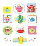 Colección de teteras lindas y coloridas stock de ilustración