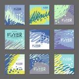 Colección de tonos azules de las postales abstractas para su diseño ejemplo a mano del vector Imágenes de archivo libres de regalías