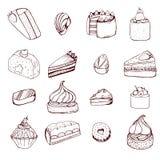 Colección de tortas y de caramelos de chocolate dibujados mano imagen de archivo libre de regalías