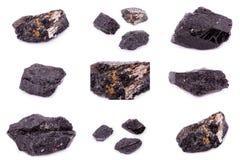 Colección de Tourmaline mineral de piedra Imagen de archivo libre de regalías