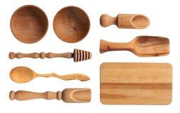 Colección de utensilios de madera de la cocina Imagenes de archivo