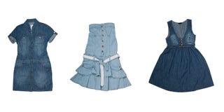 Colección de varios tipos de alineadas de los pantalones vaqueros Imágenes de archivo libres de regalías