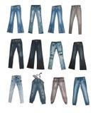 Colección de varios tipos de pantalones vaqueros Foto de archivo libre de regalías