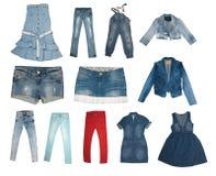 Colección de varios tipos de pantalones vaqueros Imágenes de archivo libres de regalías