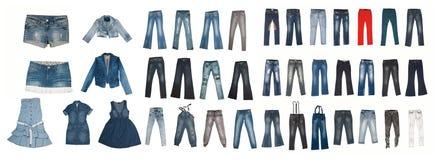 Colección de varios tipos de pantalones vaqueros Fotografía de archivo libre de regalías