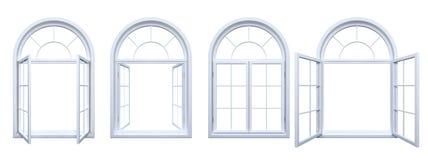 Colección de ventanas arqueadas blanco aisladas Foto de archivo