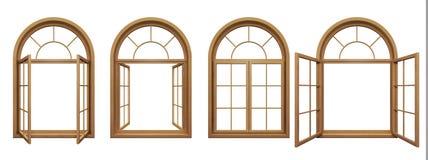 Colección de ventanas arqueadas de madera Fotografía de archivo