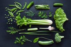 Colección de verduras verdes frescas Imagen de archivo