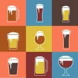 Colección de vidrios de cerveza planos del vector stock de ilustración