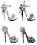 Colección de zapatos de los tacones altos de la moda Foto de archivo libre de regalías