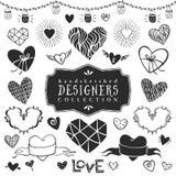 Colección decorativa de los corazones del vintage Diseño dibujado mano del vector Imágenes de archivo libres de regalías