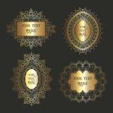 Colección decorativa de los marcos en oro metálico Imagenes de archivo