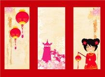 Colección del Año Nuevo de las tarjetas chinas y de las banderas Foto de archivo