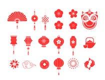 Colección del Año Nuevo de los símbolos rojos chinos y de los iconos stock de ilustración