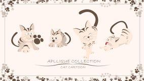 Colección del Applique, sistema de la historieta del gato Fotografía de archivo libre de regalías